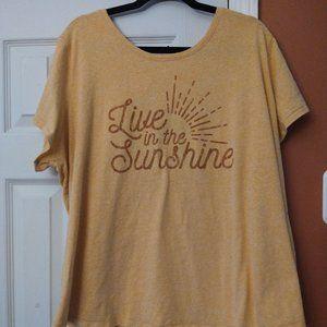 Live In the Sunshine Yellow Tee 3X